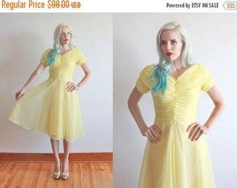 "SALE vintage 1950s dress   32-34"" waist 26""   lemon yellow chiffon party frock"