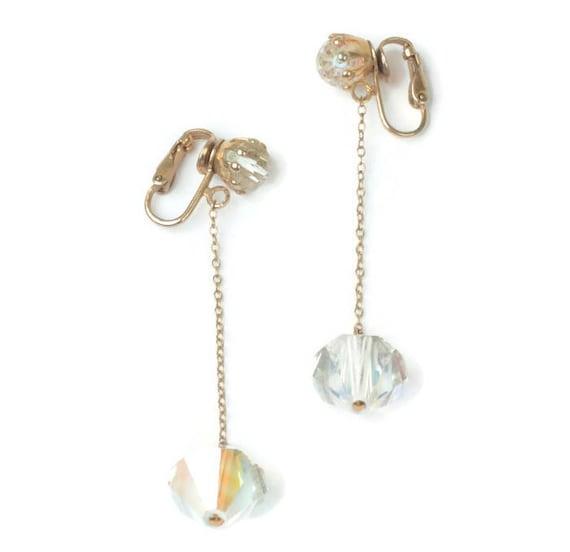 AB Crystal Dangle Earrings Longer Length Aurora Borealis Crystal Vintage