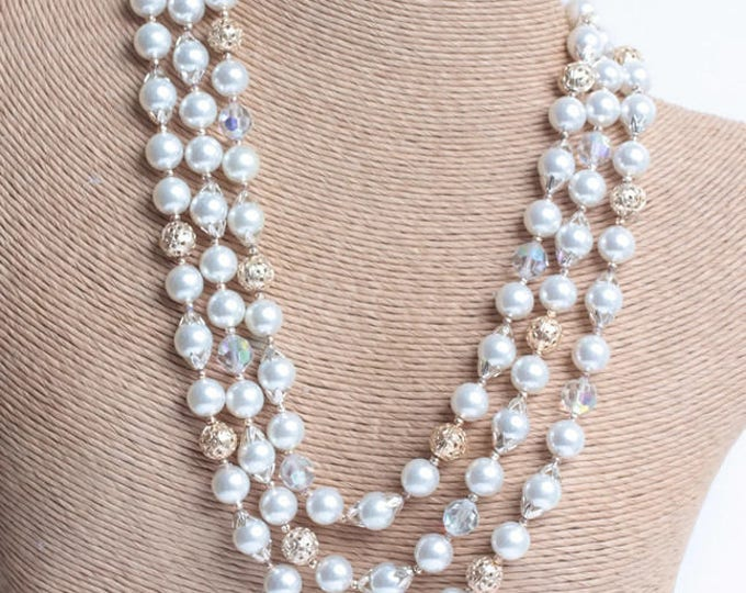 AB Crystal Bead Necklace Faux Pearls Japan Three Strands