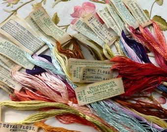 14/ Fourteen Hanks Antique Silk Embroidery Flosses