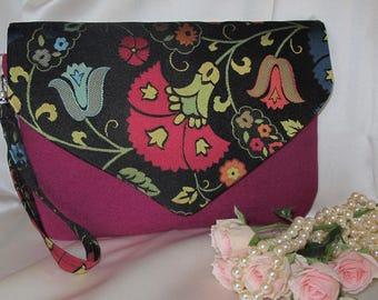 Clutch , Evening clutch , Purple clutch , Flower clutch , Gift for her , Envelope clutch , Wristlet strap clutch