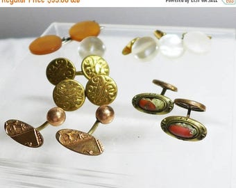 Sale 15% Lot 6 pair Antique Cuff Links Cufflinks Fathers Day Gold Coral