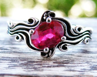 Rubine Red Ruby Ring in 14K White Gold in Ocean Sea Surf Themed Setting with Blackened Waves Size 8