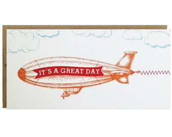 It's A Great Day Greeting Card Blimp Banner with sewn paper