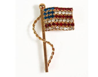 1980s Gold Tone Red White and Blue Rhinestone 4th of July Election Day American Flag Vintage Pin Brooch