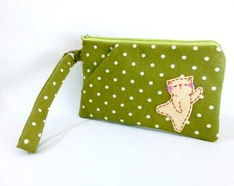 iPhone 6s plus cat wristlet zipper pouch cell phone wallet clutch purse green polka dot iPhone wristlet gift for her girlfriend gift