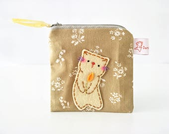 Cat Pouch, Pouch, Cat Coin Purse, Cat Purse, Zipper Pouch, Zipper Wallet, Cat, Linen Pouch, Cute Purse, Small Change Pouch - Kitty Dancing