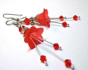 RESERVED FOR CHRISTINE Red Flower Earrings, Swarovski Red Crystal Earrings, Silver Earrings, Flower Dangle