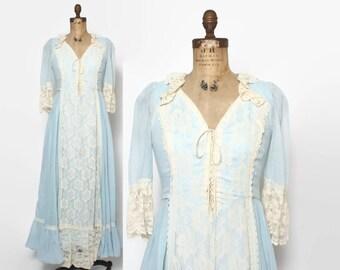 Vintage 70s GUNNE SAX Dress / 1970s Pastel Blue Gauzy Ruffled Lace Corset Maxi S - M