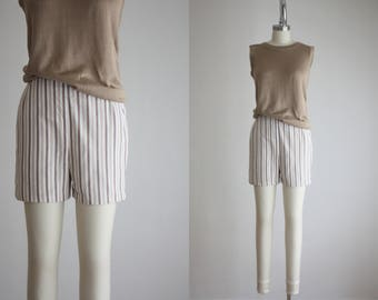 1960s striped high waisted shorts