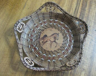 Wood Burnt Image of a Prancing Horse Pine Needle Basket