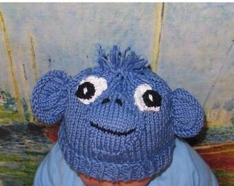 40% OFF SALE Instant Digital File pdf download baby blue monkey animal hat pdf knitting pattern