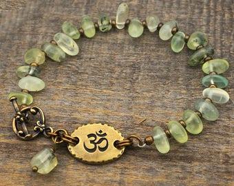 Green om bracelet, prehnite semiprecious stone beads, zen jewelry, brass, 7 3/4 inches long