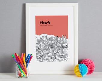 Gepersonaliseerd Madrid Print | Unieke huwelijksgeschenk | Huis opwarming van de aarde Gift | Eerste verjaardag cadeau | Valentines Day Gift | Aangepaste overeenkomstengift