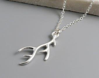 Silver Antler Necklace - sterling silver, deer antler, woodland necklace