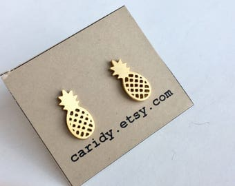 Gold Plated Stainless Steel Pineapple Stud Earrings, Pineapple Studs, Pineapple Stud Earrings, Pineapple Earrings, Stainless Steel Earrings