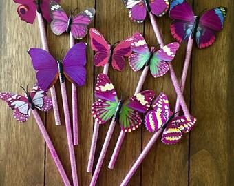 Medium Purple glitter butterfly pencil