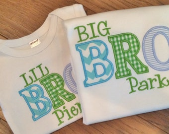 Appliqued  Big and Lil Sibling Set
