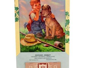 1953 ADVERTISING CALENDAR Hannah's Market Wilmington DE Boy Airedale Dog Fishing