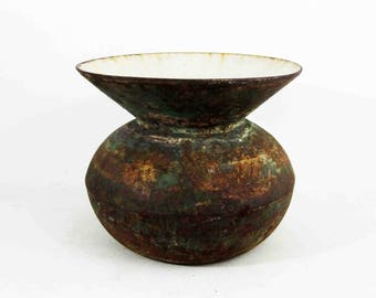Antique Brass and Enamel Chewing Tobacco Spittoon. Circa 1880's - 1910's.