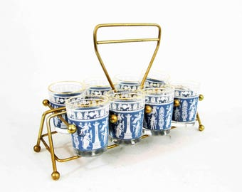 Vintage Set of 8 Shot Glasses and Caddy in Blue Hellenic Jasperware Design by Jeanette Glass. Circa 1960's.