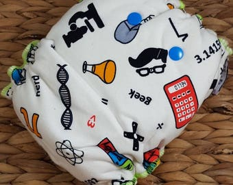 Smarty Pants, Fitted Cloth Diaper, Geek Baby, Geekly Diaper, Geek Cloth Diaper, Mustache Diaper, Scientist Baby Gift, Organic Cotton Diaper