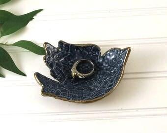 Trinket Dish, Blue Bird Ring Dish, Bird Dish, Ring Dish, Jewelry Storage, Jewelry Dish, Blue Dish, Bridesmaid Gift, Bird Lover Gift Gift Box