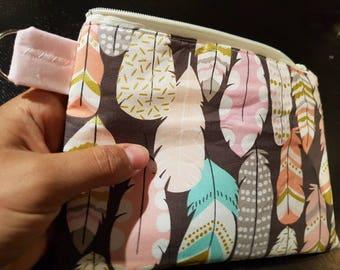 Shiny Feather Handbag /Cosmetic Bag