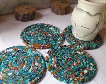 Teal Green, Brown and White Coiled Fabric Coasters - Set of 4 Handmade by YellowViolet