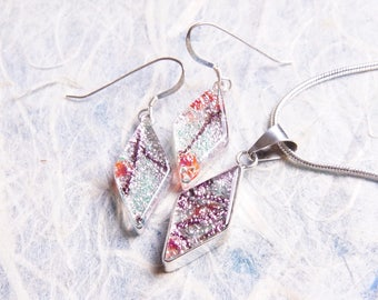 Dichroic Sterling Silver .925 Fused Glass Pendant Necklace Earrings ...matching set...