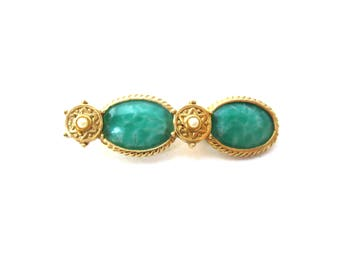 Unique Vintage Unmarked Marbled Green Glass Cabochon & Faux Pearl Gold Tone Metal Vintage Bar Brooch / Bar Pin