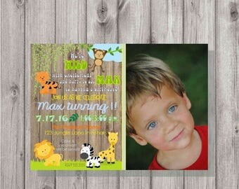 ON SALE Digital Wild Jungle Animals Wood Baby Boy First Birthday Party Photo Invitation Printable 2nd, 3rd, 4th, 5th Any Age Zoo