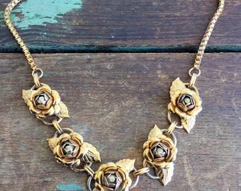 Vintage Brass Rose Flower Rhinestone Necklace Choker