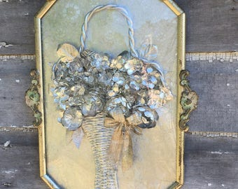 Antique Art Deco Convex Glass Metal painted Frame With Silver Basket Of Flowers