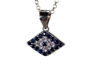 Evil eye necklace – 925 sterling silver – - cubic zirconia - Greek jewelry – gift for her
