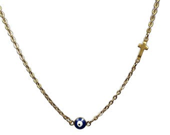 Evil eye cross necklace  -  dark blue - gold plated stainless steel - protection - Greek jewelry - Gift for her