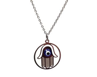 Evil eye hamsa necklace - stainless steel - gift for her - protection