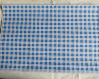 "Blue Gingham Food Safe Wrapping Paper 25 sheets 10"" x 15"""