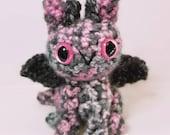 Pink Gray Dragon Plush Toy Stuffed Animal Amigurumi Crochet
