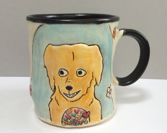 RESERVED FOR CG, Dog and Cat Mug with Hearts and Flowers, Animal Pottery