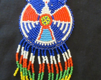 Vintage Native American Multi Colored Beaded Thunderbird Necklace