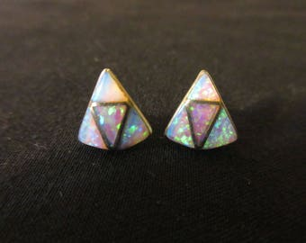 Vintage Sterling Silver Labratory Opal Stud Earrings - GORGEOUS