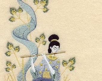 GEISHA PLAYING FLUTE on Ladies' Tee or Sweat by Rosemary