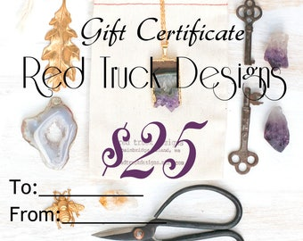 Jewelry Gift Certificate Twenty Five Dollars Red Truck Designs Gift for Her Gift for Him Bridesmaid Gift Birthday Gift Best Friend Gift