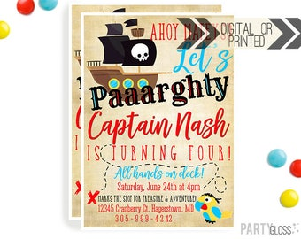 Pirate Invitation | Digital or Printed | Buried Treasure Invitation | Pirate Invitation |  Pirate Party | Treasure Map Invite | Ahoy Matey |
