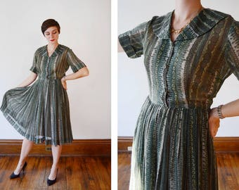 1950s Sheer Green Shirtwaist Dress - S/M