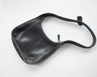1970s Small Black Coach Shoulder Bag