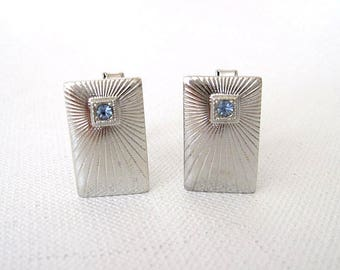 Vintage Pair Silver Metal Cuff Links Ribbed with Blue Rhinestones