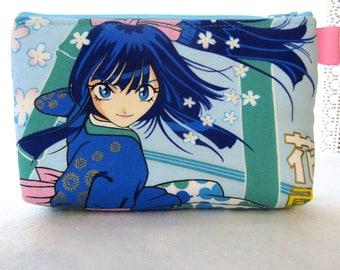 OOAK Thunder Flower Fabric Large Cosmetic Bag Zipper Pouch Padded Makeup Bag Zip Pouch Alexander Henry Girl Power Japanese Anime Blue Hair