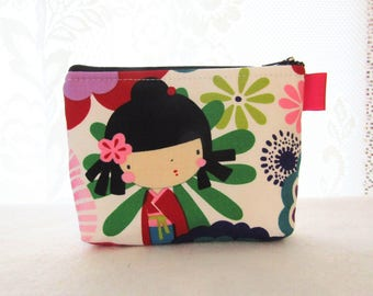 Kaori Kokeshi Doll Cosmetic Bag Fabric Zipper Pouch Makeup Bag Alexander Henry Fabric Gadget Pouch Japanese Red Purple Pink Lime White